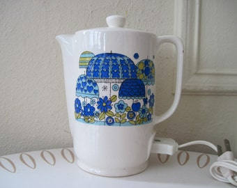 vintage Blue APRIL SHOWERS electric coffee percolator, Hot Water Teapot,  with MOD umbrellas and flowers