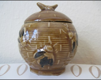 vintage ceramic BUMBLE BEE Hive Honey Jar