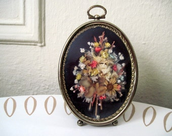 vintage Bouquet of Dried Flowers in a Sweet Oval Frame with yellow daisies and baby's breath - super romantic Neo Victorian art