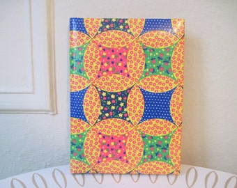 1960s MOD Quilted Country Calico Photo Album - vintage Guest Book - Swiss Dots, Tulips, and Daisies in bright yellow, red, green, & blue