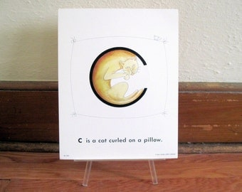 extra large 1970s Alphabet Flash Card -letter C is for a CAT Curled on a pillow - vintage nursery poetry  poster , ready to frame