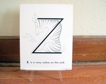 extra large 1970s Alphabet Flash Card - letter Z is a Zany ZEBRA on the End  - vintage nursery poetry  poster , ready to frame