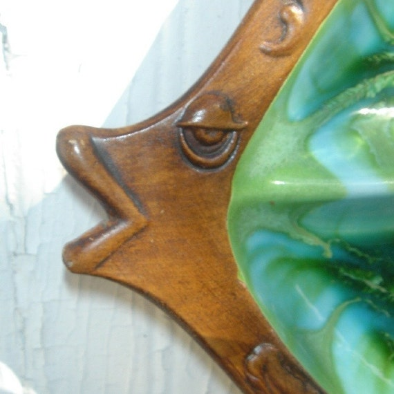 Vintage large ceramic fish divided serving tray platter for Fish serving platter