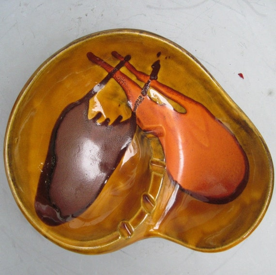 1960s vintage MUSTARD GLAZE Haeger Ceramic Bowl / Ashtray - MOD mcm Mid Century Decor