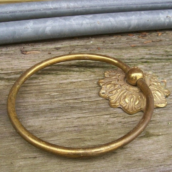 Vintage Gold Tone Towel Ring