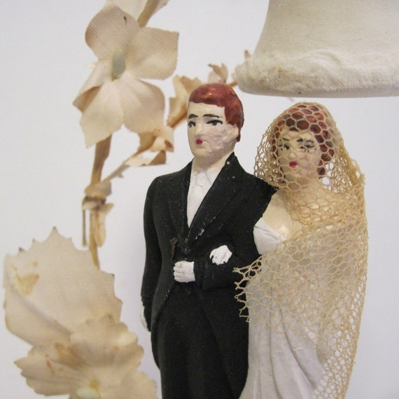 1940s vintage Chalkware Wedding Cake Topper with Bride and Groom and Bells and Flowers