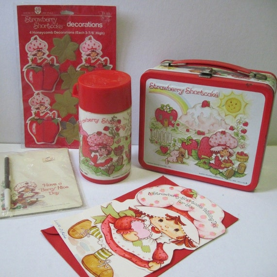 ON HOLD Vintage Strawberry Shortcake Lunch Box plus Extras