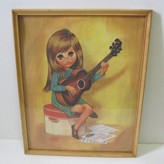 Vintage 60s Big Eye Guitar Playing Mod Girl Framed Eve Print