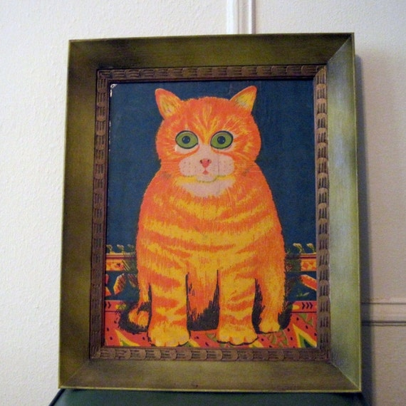 vintage 70s Psychedelic Silk Screened Orange Tabby Cat Framed Art