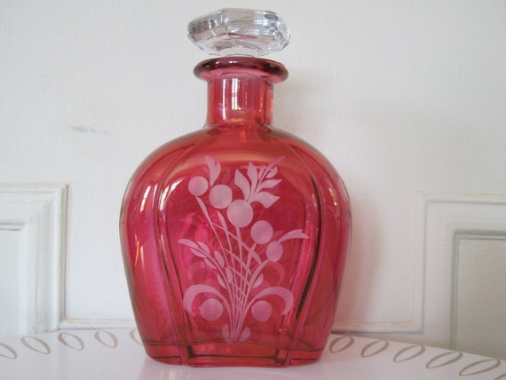 vintage 1940's Cranberry Glass Decanter with Etched Flowers
