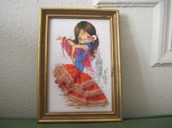 vintage Embroidered & Fabric MOD Flamenco Dancer Framed Art
