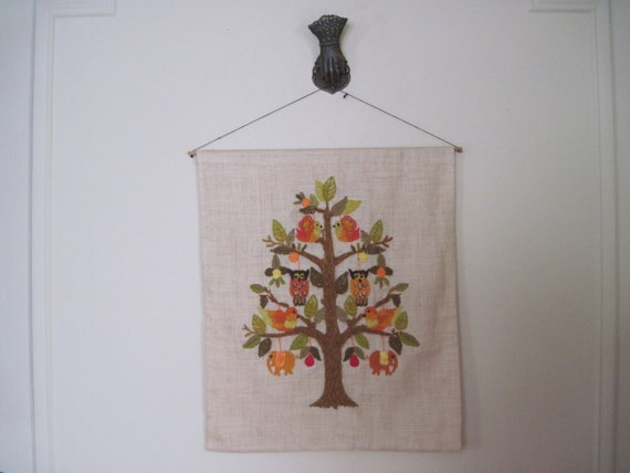 Owls and Elephants in a Pear Tree, super fun ENCHANTED FOREST vintage Embroidered Wall Art on Linen