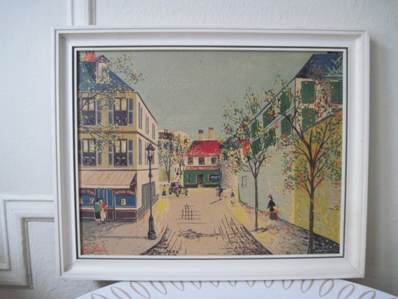 vintage Parisian City Street - Framed Art Print by Jean Benet, purchased at Gimbels in the 1950s