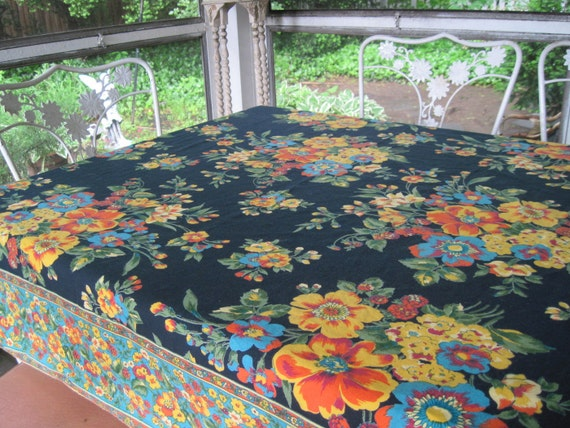 vintage  Black Floral Cotton Tablecloth from India - Bohemian April Cornell Table Linen, measures 46x52