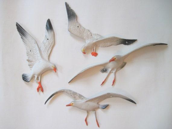 Vintage Metal Seagull Wall Art 1960s Nautical Water Bird