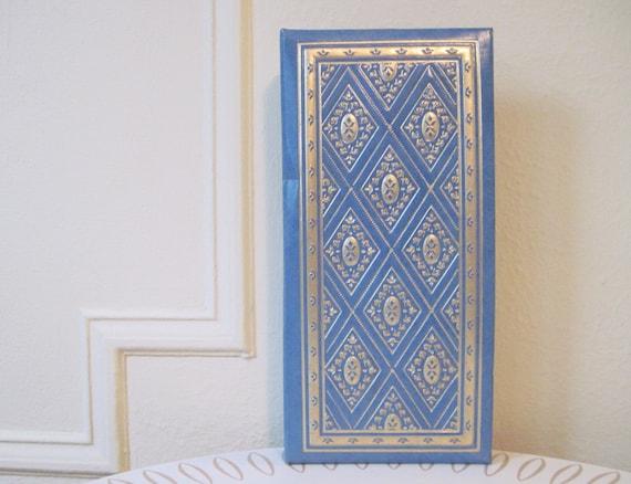 1960s Blue & Gold Moroccan Diamond Photo Album - vintage Bohemian Guest Book