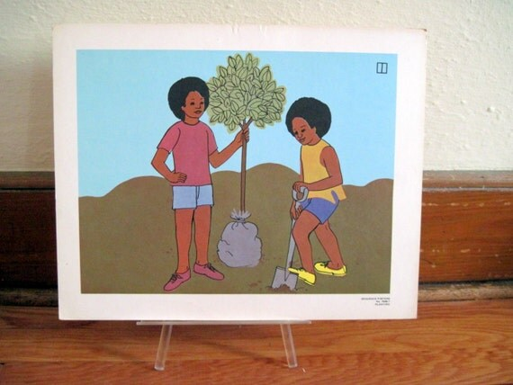 Boys Plant a Tree - 1970s retro Sequence Poster  - large vintage flash card art, ready to frame