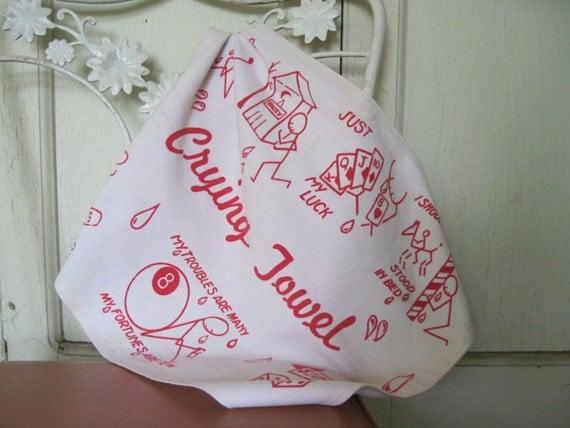 1950s Red & White Linen CRYING TOWEL - Dish Rag, Tea Towel, Hand Towel