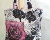 Quilted Silk Tote Bag, Recycled Scarf, Medium Sized
