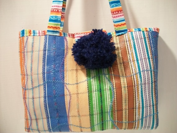 Quilted Nylon Tote Bag from Recycled Lawn Chair Strapping