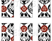 Damask 1x2 Domino size digital collage sheet - printable - for scrapbooking, jewelry-making