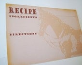 Western Recipe Card Set - Rustic Western Horse  - 20 4x6