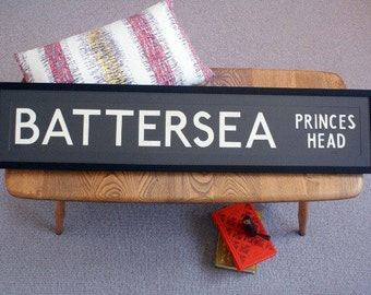 Vintage London Bus Blind - BATTERSEA (PRINCES HEAD)