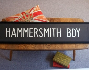 Vintage London Bus Blind - HAMMERSMITH BDY