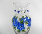 Vase Cobalt Blue Hand Painted Cobalt Blue Flowers