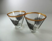 Martini Glasses Stemless Black Coral Hand Painted Set of 2