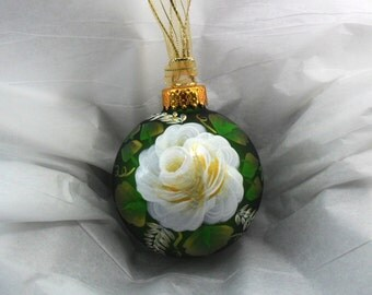 Rose Ornament Hand Painted Green Glass