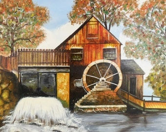 Original Oil Painting Gristmill 14 x 18 Vintage Unframed