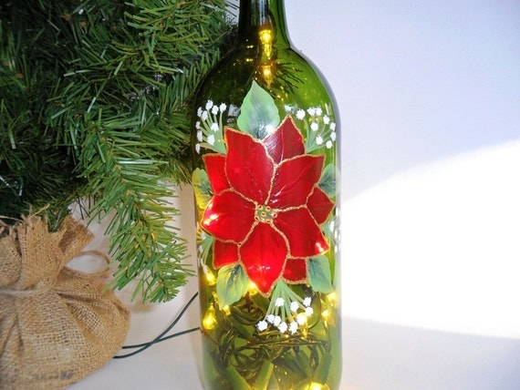 Lighted Wine Bottle Red Poinsettia Hand Painted 1 Liter