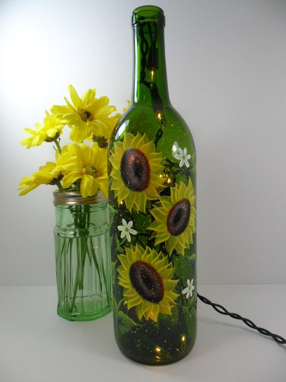 Lighted wine bottle sunflowers green hand painted 750 ml for Painting flowers on wine bottles