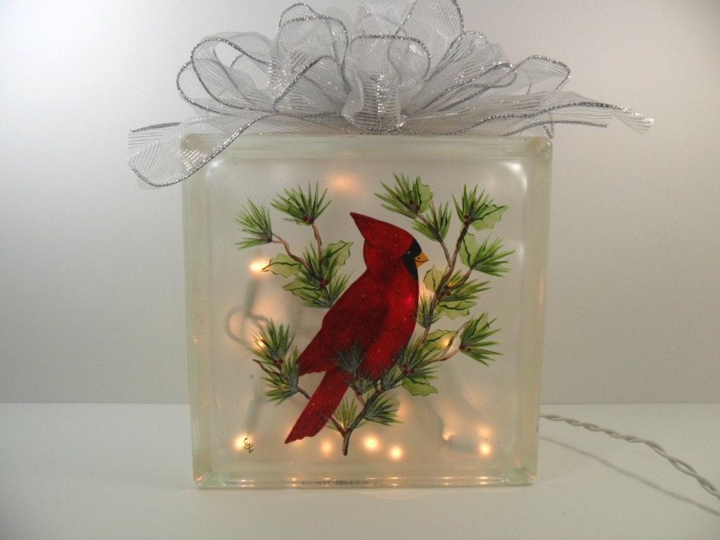 Lighted glass block cardinal 8x8x3 hand painted for Best craft light reviews