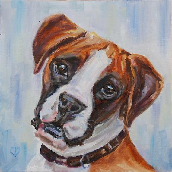 Boxer Dog Painting Dog Portrait Original Oil By Carol