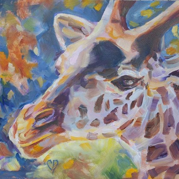 Sale, Giraffe Painting,  Zoo Animals, Original oil by Carol DeMumbrum