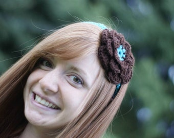 Juliet headband in Teal and Chocolate