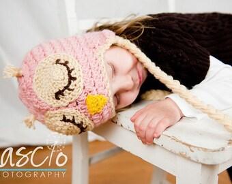 Crochet Pattern, Sleepy Owl Hat - Instant Download Crochet Pattern