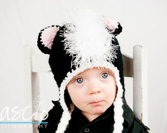 Crochet Pattern, Skunk Hat - Instant Download