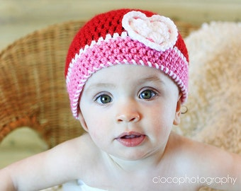 Sweethearts Beanie Crochet Pattern, Baby, Child and Adult sizes included