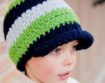 Crochet Hat, Boy Beanie, Brimmed Beanie - Instant Download Crochet Pattern