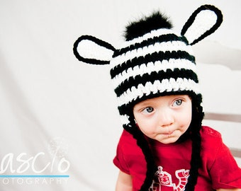Crochet Pattern, Zebra Hat - Instant Download