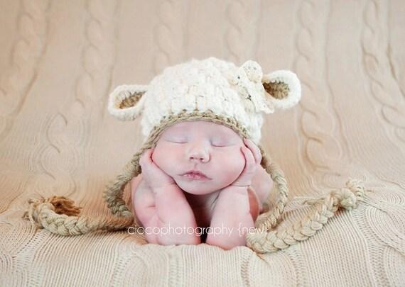 Crochet Pattern For A Lamb Hat : Crochet Pattern Little Lamb Hat by SweetKiwiCrochet on Etsy