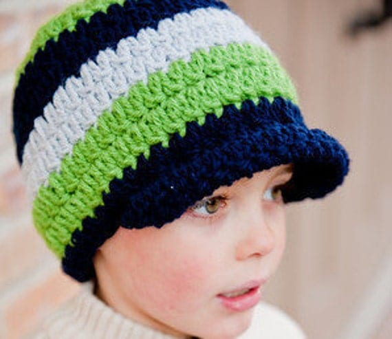 Crochet Hat, Boy Beanie, Brimmed Beanie - Instant Download Crochet Pattern