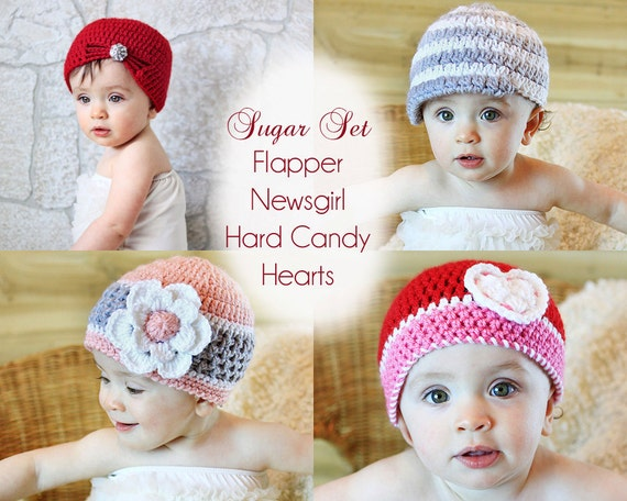 Crochet Pattern, Girls Hat - Flapper, Hard Candy, Sweet Hearts and Brimmed Hats Crochet Patterns - Instant Download
