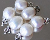 Six 7mm White Freshwater Pearl Pendants or Charms