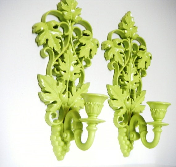 Key Lime Green Syroco Vintage Candle WALL Sconces Upcycled Home Decor Set of Two