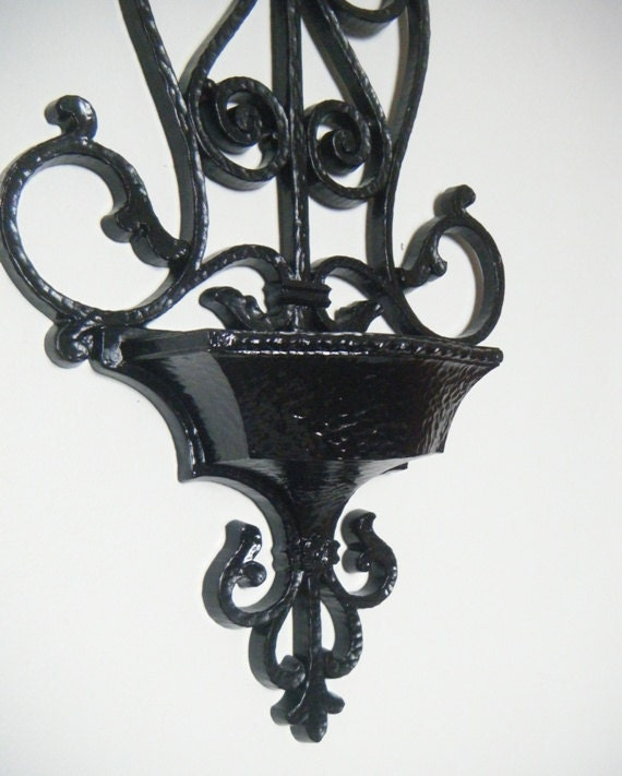 Pocket Wall Sconce Black and Scrolly Vintage Upcycled Syroco Wall Decor. YOU Choose Color.