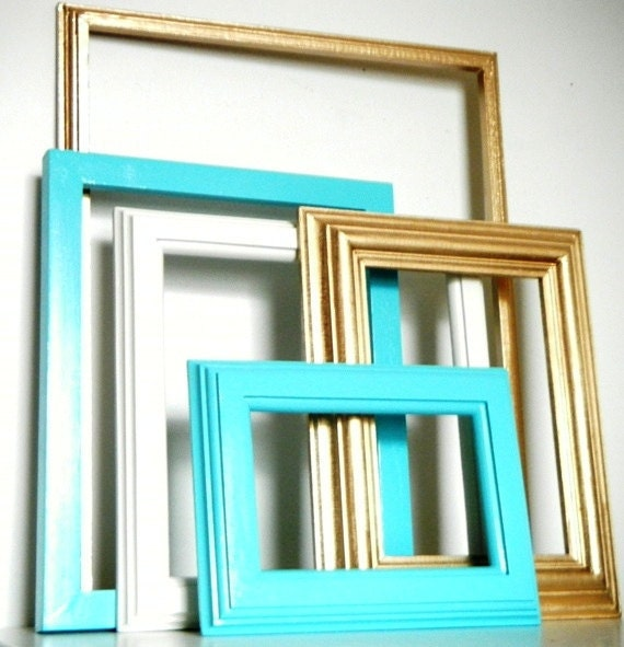 Beachy Chic Gold and Turquoise Blue Wall Frame Collection with GLASS.